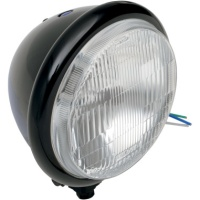 Black Bates Style Halogen 5 3/4 Inch Pedistal Mount Headlight