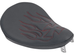 Small Solo Seat with red flames and maltis cross pattern